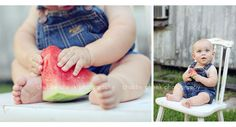 adorable baby with watermelon. great summer shot