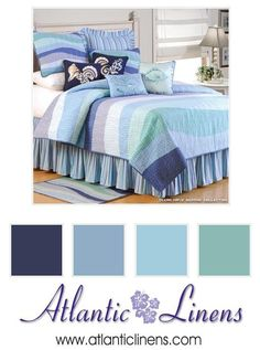 Various shades of coastal blues, violet and white are beautifully displayed on the Ocean Wave Bedding.