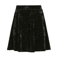 TopShop Velvet Flippy Skirt (£27) ❤ liked on Polyvore featuring skirts, mini skirts, topshop, flippy skirt, velvet skirt and swing skirt