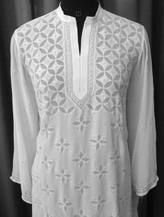 "Cotton Hand embroidered tunic from Lucknow, India ( ""Chikan"" embroidery)"