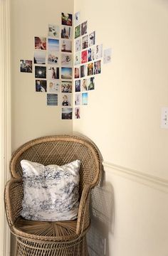 Make your own photo wall: 66 wonderful ideas and inspirations - photowall-ideas-family-photos-chair-pillow-light-brown-wall - Bedroom Wall, Bedroom Decor, Bedroom Corner, Photowall Ideas, Polaroid Wall, Polaroids On Wall, Polaroid Pictures Display, Polaroid Display, Display Photos