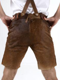 http://www.trachten24.eu/Trachtenlederhose-Kare-echtes-Rindsfell-braun - Trachtenlederhose Kare echtes Rindsfell (braun) - Bavarian Lederhosen short Kare genuine fur (brown)