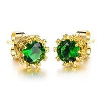 Material:Gold Plated Main Color:Gold Stone Color:Green ;  White Top Quality/Never Fade/Brand New Des