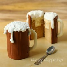 Root Beer Mug Cakes filled with Vanilla Ice Cream Ganache