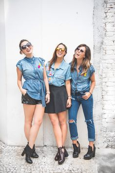 camisa jeans com patches - looks diferentes