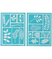 Martha Stewart Adhesive Stencils 2 Sheets/Pk-Leaves ,