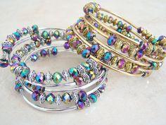 Gold Or Silver Tubed Memory Wire Bracelet, Crystal Beaded Stack Bracelet by Feralspassage