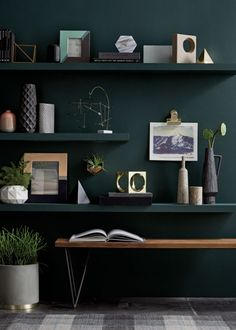 Salamander Benjamin Moore We've gathered our favorite swatches from a year's worth of hue-happy rooms. See the top paint colors for Top Paint Colors, Bedroom Paint Colors, Wall Design, House Design, Interior Paint, Interior Design, Happy Room, Farmhouse Side Table, Home And Deco
