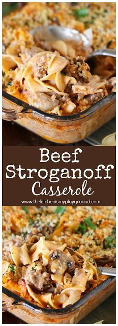Beef Stroganoff Casserole #ad ~ Dig in to a pan of this tasty casserole for dinner! It's also loaded with great flavor the whole family will love. #beefstroganoff #casserole #dinnercasseroles #dinner #dinnerideas #groundbeefrecipes #groundbeef @FoodLion www.thekitchenismyplayground.com