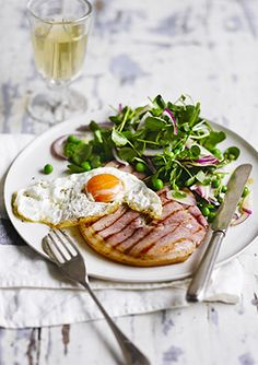 Gammon and egg with watercress and pea salad