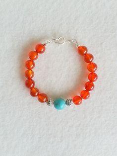 Red Agate gemstone bracelet by SpicyMoon on Etsy