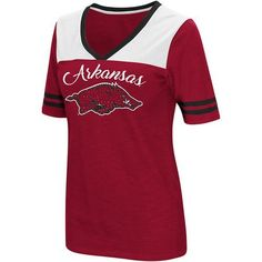 Colosseum Athletics Women's University of Arkansas Twist 2.1 V-Neck T-shirt (Red Medium, Size X Large) - NCAA Licensed Product, NCAA Women's at Aca...