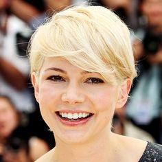 Michelle Williams—short hair looks great in platinum blond.
