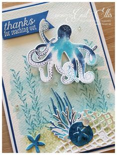 Tranquil Textures Suite by Stampin' Up! Octopus Card, Sea Texture, Karten Diy, Nautical Cards, Up Book, Sea Theme, Beautiful Handmade Cards, Stamping Up Cards, Masculine Cards