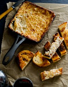 """Hot & Cheesy Sweet Onion """"Crack Dip"""" with grilled bread from @whiteonrice"""