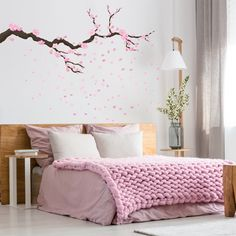 Bedroom Colour Palette, Bedroom Colors, Home Decor Bedroom, Bedroom Wall, Diy Room Decor, Girl Bedroom Designs, Living Room Designs, Cherry Blossom Bedroom, Wall Painting Decor