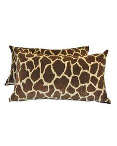 Giraffe skin (faux) accent pillow.  Very soft, invisible zipper closure, down alternative insert included.