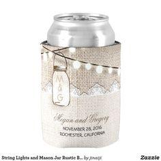 String Lights and Mason Jar Rustic Burlap Can Cooler rustic burlap wedding koozie cooler with string lights and mason jar