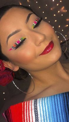 Dazzle everyone at your Mexican Independence Day party with these trendy Mexican serape eye makeup looks! Makeup Inspo, Makeup Art, Makeup Tips, Beauty Makeup, Makeup Brands, Best Makeup Products, Mexican Makeup, Eye Makeup Designs, Makeup Challenges