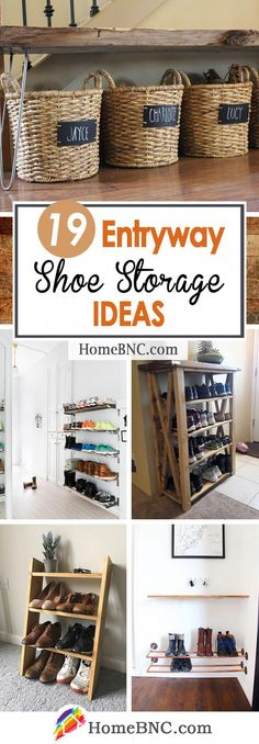 Entryway Organization, Ideas & Decor 19 Best Entryway Shoe Storage Ideas and Designs for 2018 Coat And Shoe Storage, Shoe Storage Small, Ikea Storage, Shoe Storage Ideas For Small Spaces, Porch Storage, Hall Storage Ideas, Clever Storage Ideas, Shoe Storage Rack, Storage Cubes