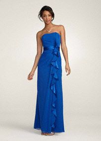 Long Strapless Dress with Front Ruffle Cascade  Style F14336                          SALE -   In Store Only                                $149.00