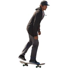 A teenage or college-aged man in a gray sweatshirt and Nike shoes riding on a skateboard.