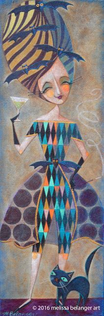 """""""Bats in the Beehive"""" by Melissa Belanger, mixed media acrylic painting, 10""""x30"""""""
