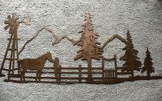Country Horse Scene Metal Wall Art