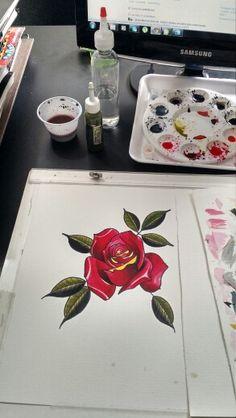 Rosa neo tradition tintas aquarela e tintas de tattoo