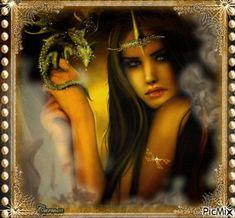 Donna con piccolo drago