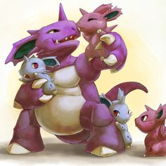 alternative-pokemon-art:  Artist A Nido family by request.