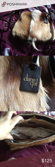Diane Gail bag Great condition only used once no scratches or scuffs real horse hair got as a gift but I'm against fur as fashion real leather straps sued interior very soft Diane gail Bags Shoulder Bags