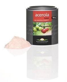 Amazonas Acerola Pulver 100 g.Amazonas Acerola - das natürliche Vitamin C.  Natürliches Vitamin C mit wirkungsverstärkenden Pflanzenstoffen.    - Row - Laktosefrei - Vegan - Glutenfrei - Acerola Fruchtpulverextrakt mit 17 % natürlichem Vitamin C - Trägerstoff: Bio Maltodextrin aus Maniok gewonnen.