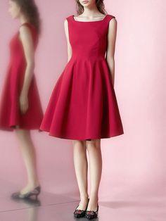 Shop Midi Dresses - Red Paneled Simple A-line Midi Dress online. Discover unique…