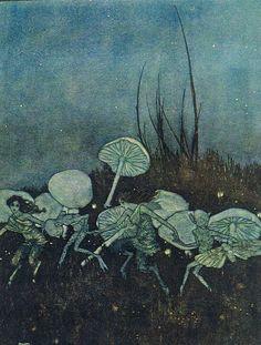 Faerie Dance and Mushrooms - Arthur Rackham Art And Illustration, Illustrations, Botanical Illustration, Edmund Dulac, Bel Art, Arte Peculiar, Arte Obscura, Arthur Rackham, Fairytale Art