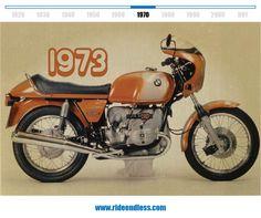R 90 S 1973  La R 90 S fue el primer modelo de BMW con una cilindrada superior a los 750 cm3 y la primera BMW en alcanzar una velocidad máxima de 200 km/h, mientras que el freno de disco doble en la parte delantera garantizaba una frenada fiable. Con su revestimiento de serie en el puesto de conducción y su compleja pintura en dos tonos, la R 90 S se considera el clásico diseño de los setenta.