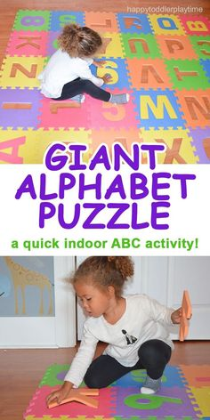 GIANT ALPHABET PUZZLE GAME – HAPPY TODDLER PLAYTIME A quick and easy indoor alphabet activity, perfect way to keep your child busy a rainy day! #toddler #preschooler