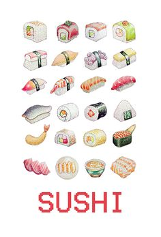 Watercolor sushi illustration