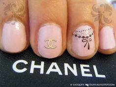 Chanel Tattoo inspired Nail Art by Laquer Boudoir, Revlon - Lilac Pastilles, Konad M62