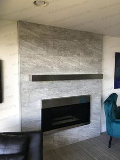 Fireproof stainless steel floating shelf Ponoma® for safe use under hood with warming light & above mantel: natural, matte black, brass Fireplace Fronts, Fireplace Facade, Tv Above Fireplace, Fireplace Tile Surround, Linear Fireplace, Stone Mantel, Slate Fireplace, Fireplace Shelves, Fireplace Remodel