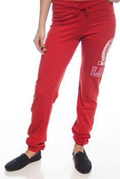 Love Nation 85 Drawstring Sweatpants - Red from Mango at Lucky 21
