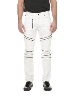 Update your moto style for summer with this pair of white denim. Fade Out, Denim Branding, Moto Style, Denim Trends, Night Looks, White Denim, Sweatpants, Boat, Zipper