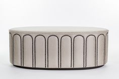 Theobald - Jo Little. Sofa Bench, Bench Furniture, Upholstered Furniture, Furniture Design, Ottoman Footstool, Round Ottoman, Ottomans, Cabinet Design, Contemporary Furniture