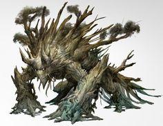 Forest Fellow - mobile tree monster - art by Kekai Kotaki for Guild Wars 2 Tree Monster, Plant Monster, Monster Art, Monster Drawing, Mythological Creatures, Fantasy Creatures, Mythical Creatures, Creature Concept Art, Creature Design