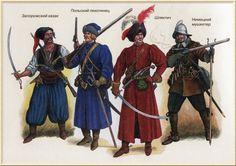 Soldados presentes en el área polaco-ucraniana en torno a 1612.  Si no me equivoco (de izquierda a derecha) Cosaco, soldado muscovita, ucraniano y arcabucero sueco Medieval Armor, Medieval Fantasy, Dark Fantasy, Military History, Military Art, Army Costume, 17th Century Fashion, Thirty Years' War, Military Drawings