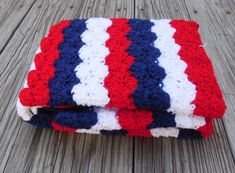 Items similar to Patriotic Crochet Baby Blanket, Red, White and Blue Baby Blanket, Travel Stroller Pram Size 28 x 39 on Etsy Blue Baby Blanket, Baby Blanket Crochet, Crochet Baby, Etsy Co, Crochet Quilt, Stroller Blanket, Yarn Colors, Travel Stroller, Baby Shower Gifts