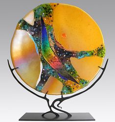 Amber Moon by Karen Ehart - Small (Art Glass Sculpture) Stained Glass Ornaments, Fused Glass Art, Glass Paperweights, Stained Glass Art, Glass Artwork, Glass Wall Art, Wall Sculptures, Sculpture Art, Slumped Glass