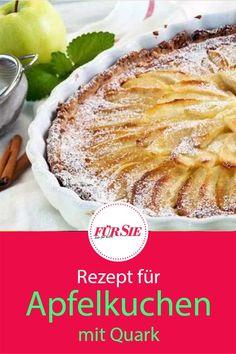 Saftig, fruchtig und einfach köstlich ist dieser Apfelkuchen. Der Quark macht ihn schön locker und cremig. Backe ihn doch mal in einer Tarte-Form, das verleiht der Kaffeetafel einen Hauch französisches Flair. Hier kommt das unfassbar leckere Rezept!  #backen #apfeltarte #kuchen #mürbeteig #backenkuchen #tarte #süßetarte #apfelkuchen #obstkuchen #kuchenrezept #kuchenbacken #fuersiemagazin Food Porn, German Recipes, Form, Camembert Cheese, Cake Recipes, Pie, Desserts, Quark Recipes, Apple Recipes