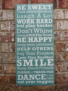 Family Rules of the House Subway Sign - Hand Painted and Distressed $49.00  I want something like this for the new nook..