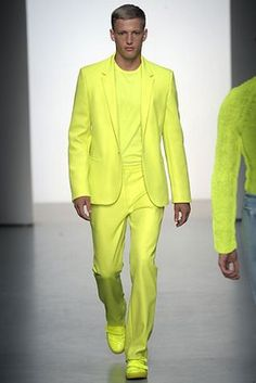 calvin-klein neon yellow suit--wow.. need my sunglasses for this one! :D
